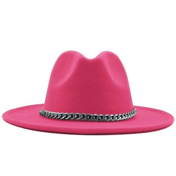 Ass. Colored Panama hat w removable silver chain